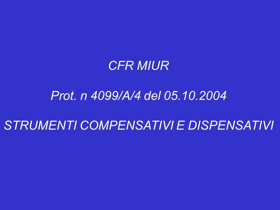 CFR MIUR Prot. n 4099/A/4 del 05.10.2004 STRUMENTI COMPENSATIVI E DISPENSATIVI