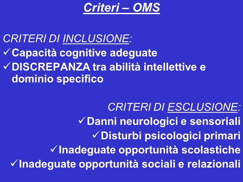 Criteri – OMS CRITERI DI INCLUSIONE: Capacità cognitive adeguate DISCREPANZA tra abilità intellettive e dominio specifico CRITERI DI ESCLUSIONE: Danni