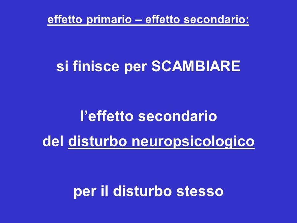 effetto primario – effetto secondario: si finisce per SCAMBIARE leffetto secondario del disturbo neuropsicologico per il disturbo stesso