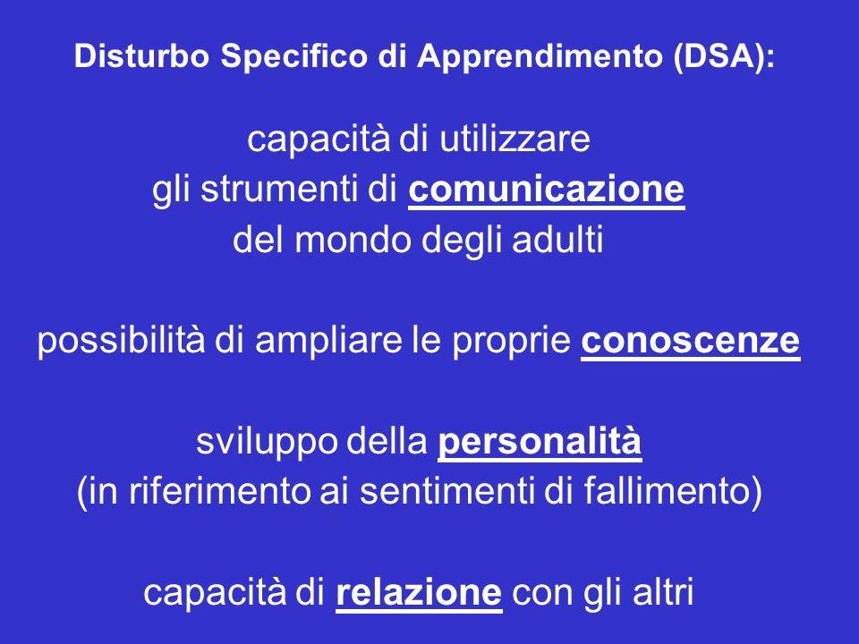Disturbo Specifico di Apprendimento (DSA): capacità di utilizzare gli strumenti di comunicazione del mondo degli adulti possibilità di ampliare le proprie conoscenze sviluppo della personalità (in riferimento ai sentimenti di fallimento) capacità di relazione con gli altri