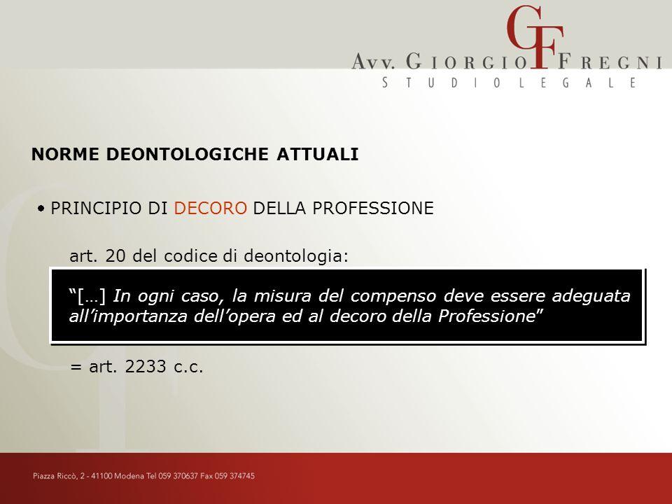 NORME DEONTOLOGICHE ATTUALI PRINCIPIO DI DECORO DELLA PROFESSIONE art.