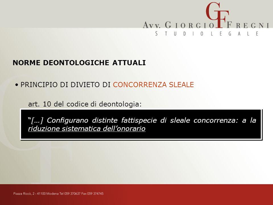 NORME DEONTOLOGICHE ATTUALI PRINCIPIO DI DIVIETO DI CONCORRENZA SLEALE art.