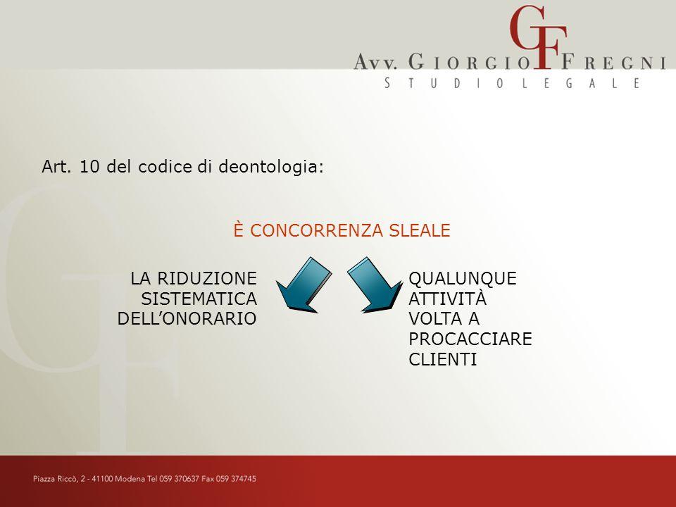 Art. 10 del codice di deontologia: LA RIDUZIONE SISTEMATICA DELLONORARIO QUALUNQUE ATTIVITÀ VOLTA A PROCACCIARE CLIENTI È CONCORRENZA SLEALE