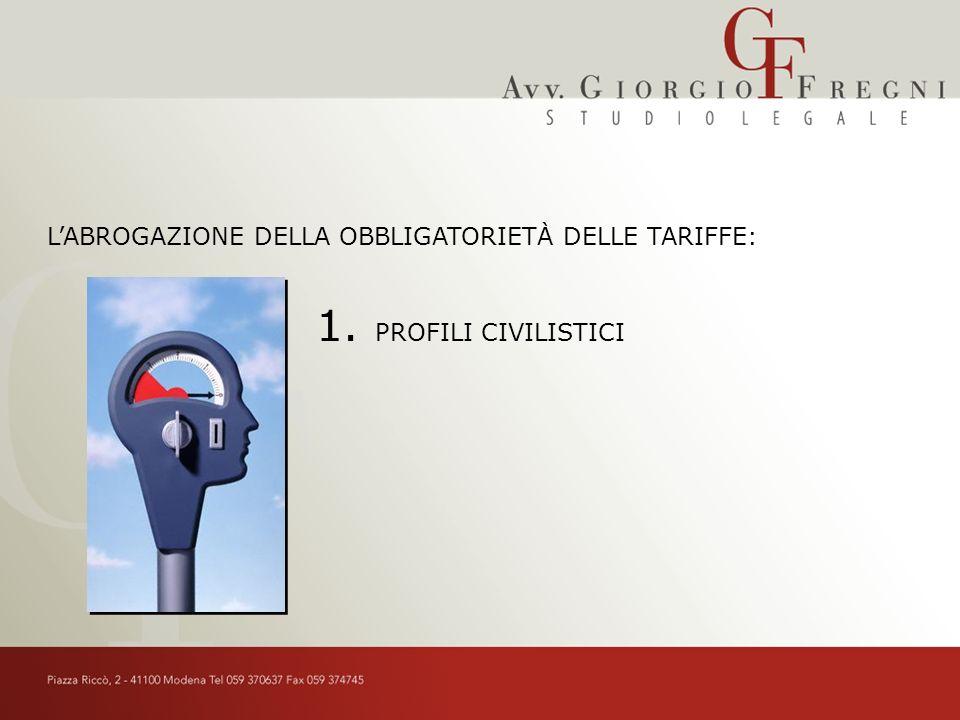LABROGAZIONE DELLA OBBLIGATORIETÀ DELLE TARIFFE: PROFILI CIVILISTICI 1.