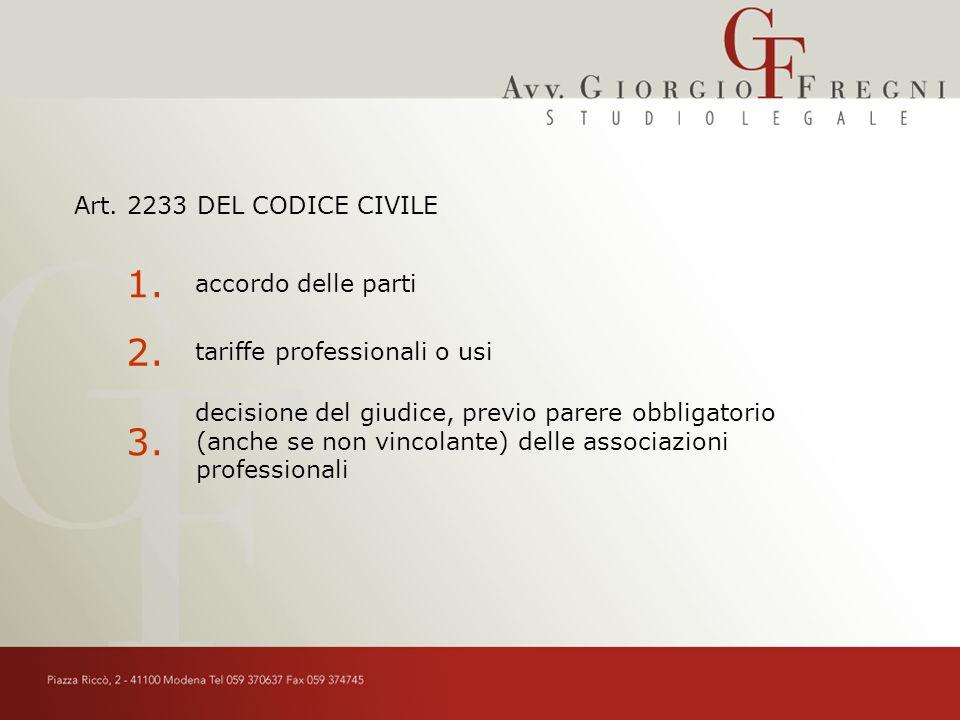 Art. 2233 DEL CODICE CIVILE accordo delle parti 1.