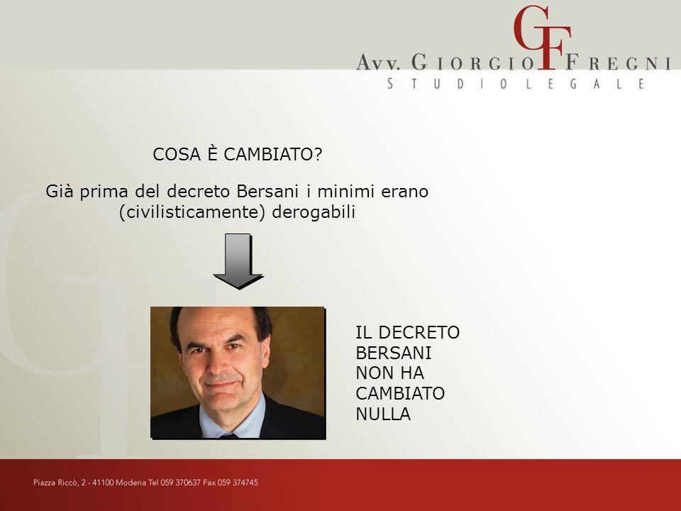 Già prima del decreto Bersani i minimi erano (civilisticamente) derogabili IL DECRETO BERSANI NON HA CAMBIATO NULLA COSA È CAMBIATO