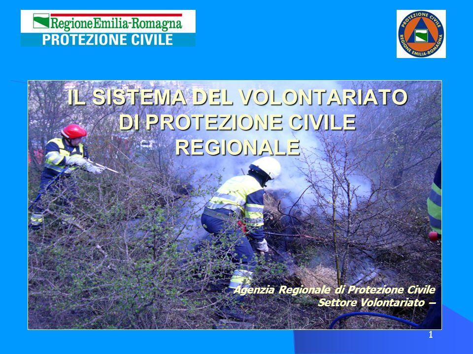 1 IL SISTEMA DEL VOLONTARIATO DI PROTEZIONE CIVILE REGIONALE Agenzia Regionale di Protezione Civile Settore Volontariato –