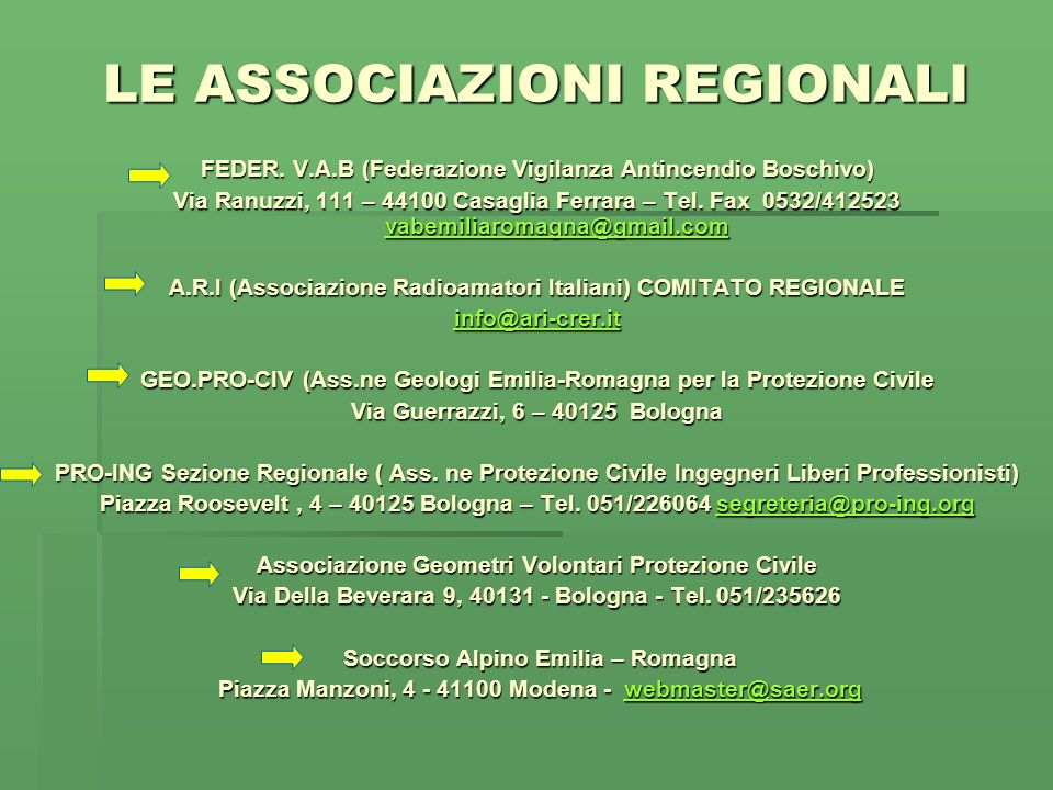 LE ASSOCIAZIONI REGIONALI FEDER. V.A.B (Federazione Vigilanza Antincendio Boschivo) Via Ranuzzi, 111 – 44100 Casaglia Ferrara – Tel. Fax 0532/412523 v