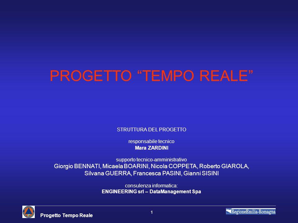 Progetto Tempo Reale 1 PROGETTO TEMPO REALE STRUTTURA DEL PROGETTO responsabile tecnico Mara ZARDINI supporto tecnico-amministrativo Giorgio BENNATI,