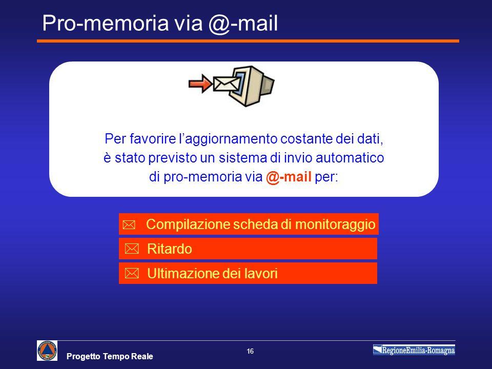 Progetto Tempo Reale 16 Per favorire laggiornamento costante dei dati, è stato previsto un sistema di invio automatico di pro-memoria via @-mail per: