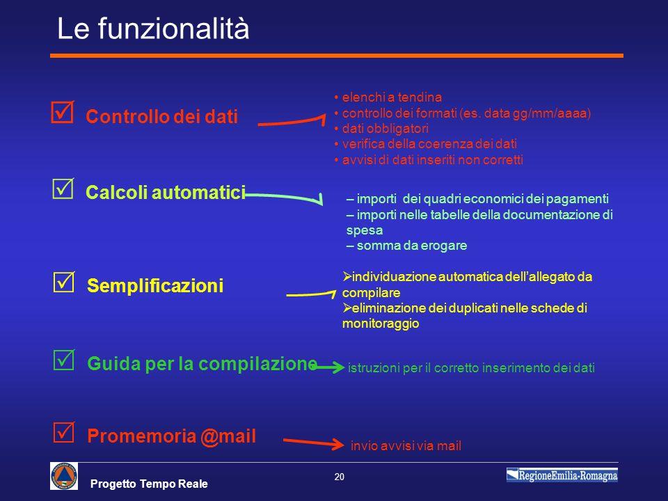 Progetto Tempo Reale 20 Le funzionalità Controllo dei dati elenchi a tendina controllo dei formati (es. data gg/mm/aaaa) dati obbligatori verifica del