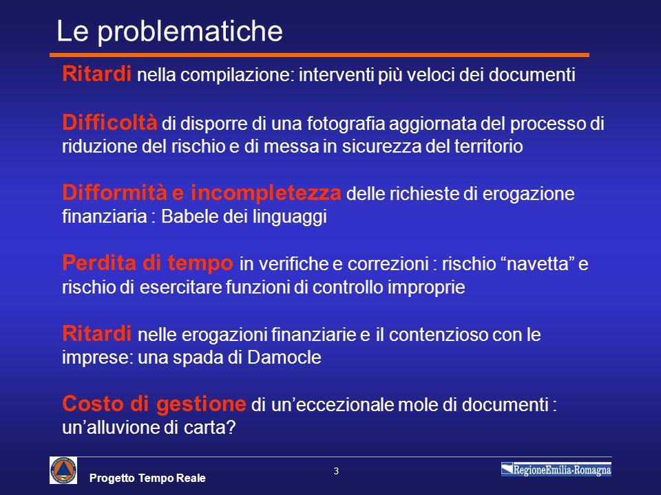Progetto Tempo Reale 3 Le problematiche Ritardi nella compilazione: interventi più veloci dei documenti Difficoltà di disporre di una fotografia aggio