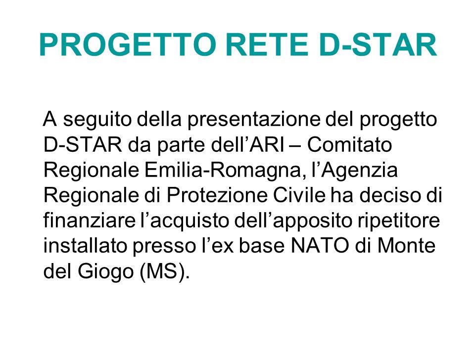 PROGETTO RETE D-STAR A seguito della presentazione del progetto D-STAR da parte dellARI – Comitato Regionale Emilia-Romagna, lAgenzia Regionale di Pro