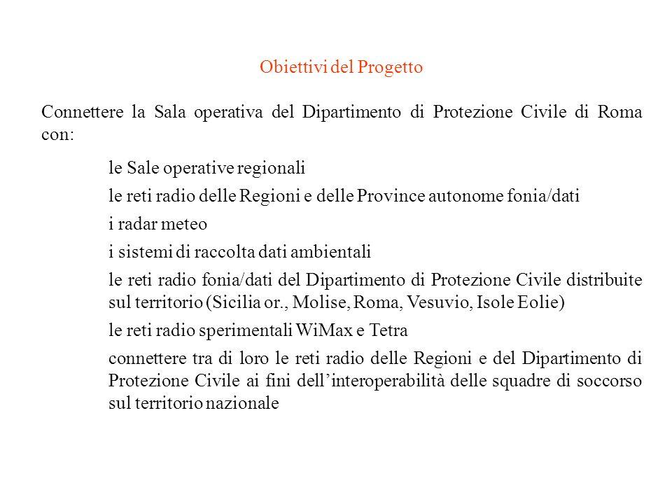 Obiettivi del Progetto Connettere la Sala operativa del Dipartimento di Protezione Civile di Roma con: le Sale operative regionali le reti radio delle