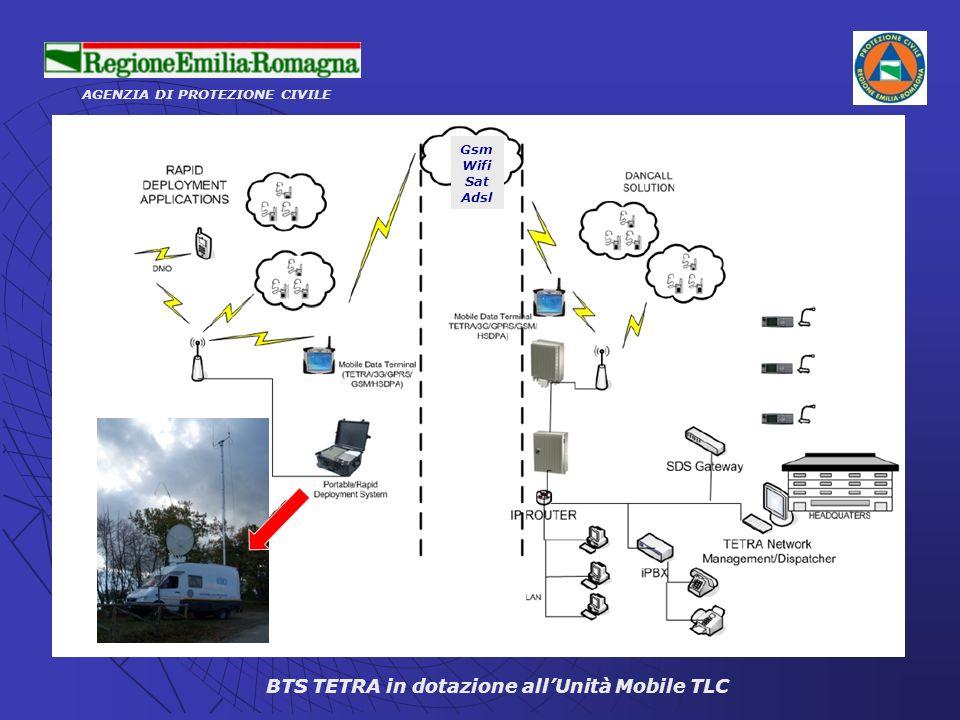 AGENZIA DI PROTEZIONE CIVILE BTS TETRA in dotazione allUnità Mobile TLC Gsm Wifi Sat Adsl