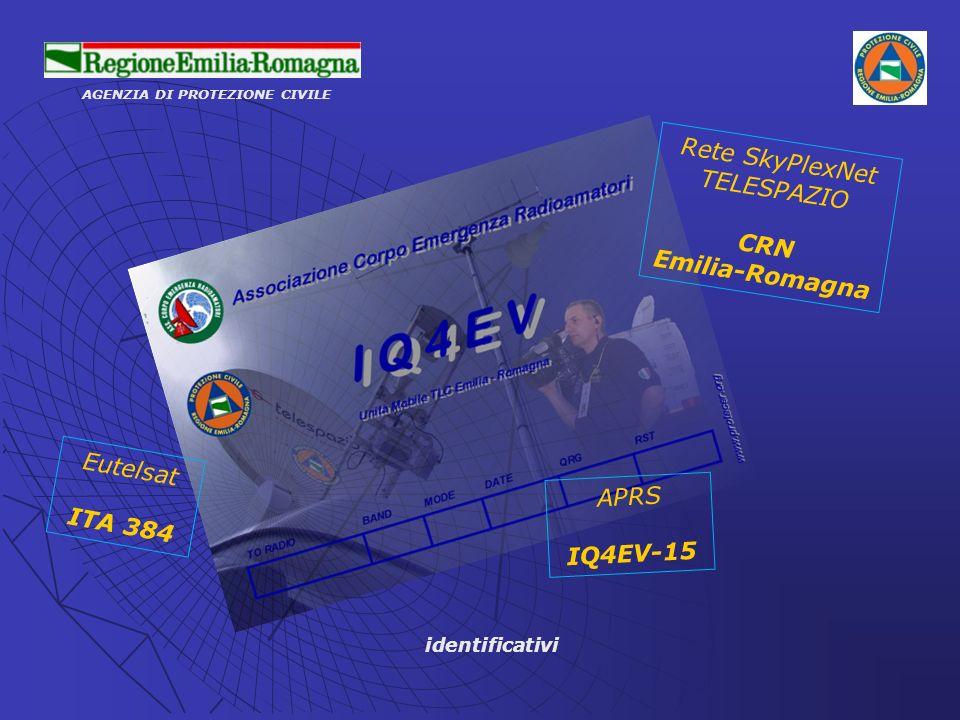 AGENZIA DI PROTEZIONE CIVILE identificativi Eutelsat ITA 384 Rete SkyPlexNet TELESPAZIO CRN Emilia-Romagna APRS IQ4EV-15