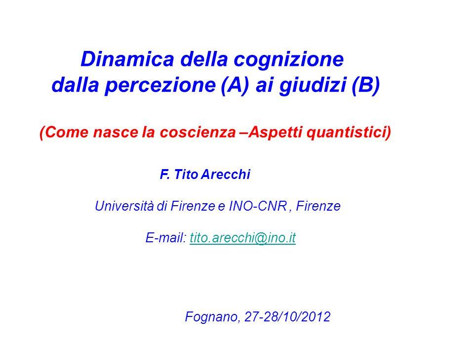 Dinamica della cognizione dalla percezione (A) ai giudizi (B) (Come nasce la coscienza –Aspetti quantistici) F.