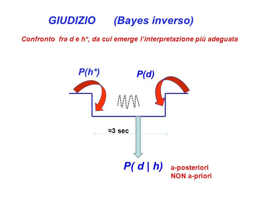 P(d) P(h*) 3 sec P( d | h) GIUDIZIO (Bayes inverso) Confronto fra d e h*, da cui emerge linterpretazione più adeguata a-posteriori NON a-priori