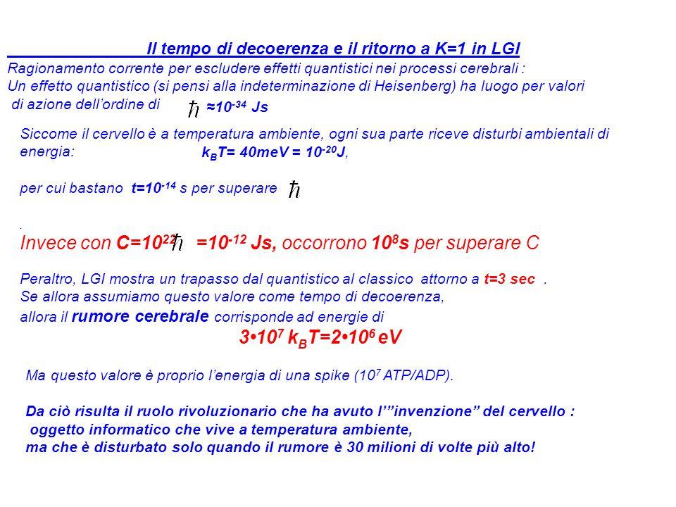 Il tempo di decoerenza e il ritorno a K=1 in LGI Ragionamento corrente per escludere effetti quantistici nei processi cerebrali : Un effetto quantistico (si pensi alla indeterminazione di Heisenberg) ha luogo per valori di azione dellordine di 10 -34 Js Siccome il cervello è a temperatura ambiente, ogni sua parte riceve disturbi ambientali di energia: k B T= 40meV = 10 -20 J, per cui bastano t=10 -14 s per superare.