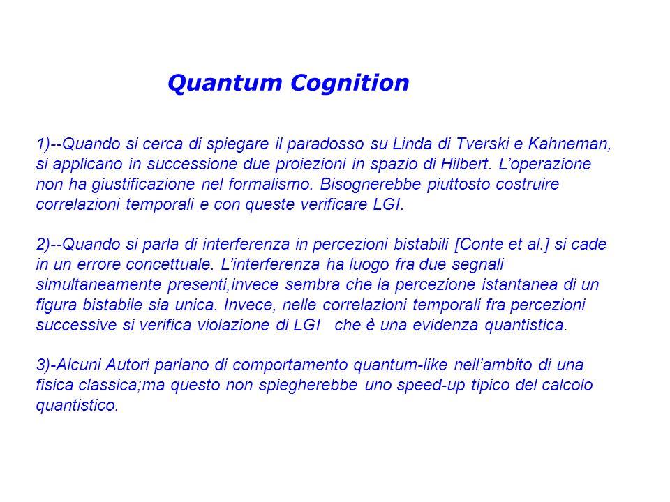 Quantum Cognition 1)--Quando si cerca di spiegare il paradosso su Linda di Tverski e Kahneman, si applicano in successione due proiezioni in spazio di Hilbert.