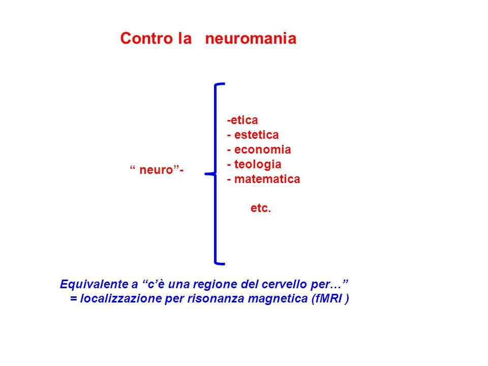 Contro la neuromania Equivalente a cè una regione del cervello per… = localizzazione per risonanza magnetica (fMRI ) -etica - estetica - economia - teologia - matematica etc.
