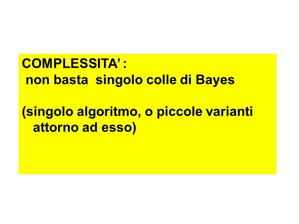 Bayes senza semiosi SIGNIFICATO INFORMAZIONE complessità semantica complessità algoritmica (complicazione) creatività [esempio: teorema di Goedel ]