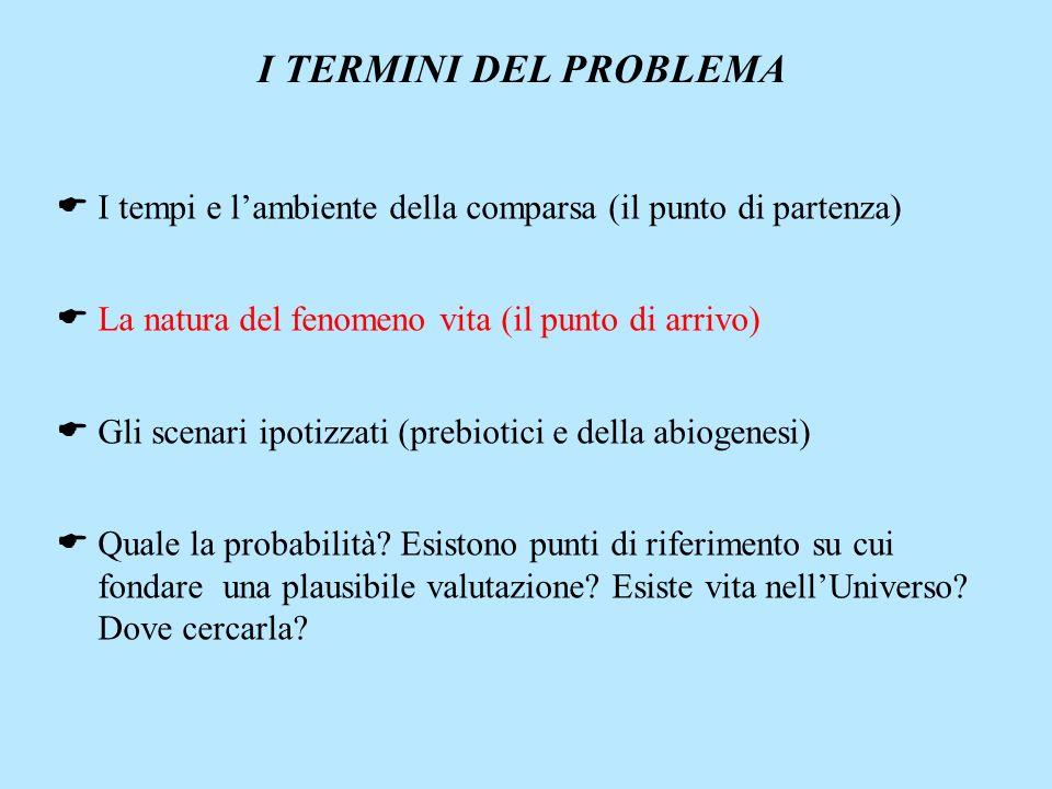 I TERMINI DEL PROBLEMA I tempi e lambiente della comparsa (il punto di partenza) La natura del fenomeno vita (il punto di arrivo) Gli scenari ipotizza