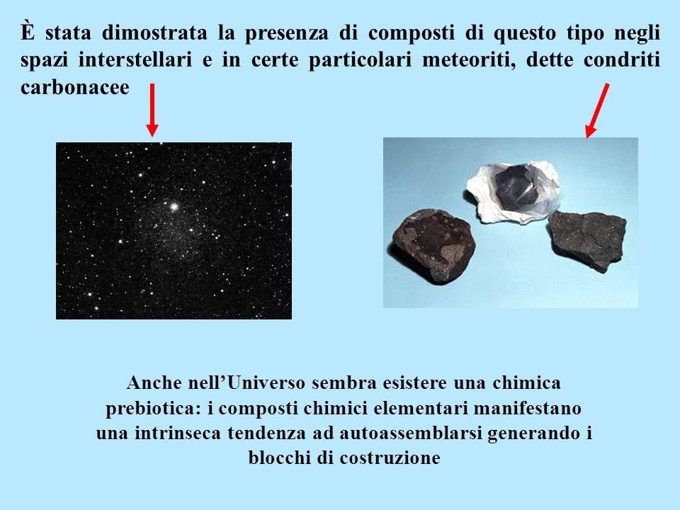 È stata dimostrata la presenza di composti di questo tipo negli spazi interstellari e in certe particolari meteoriti, dette condriti carbonacee Anche