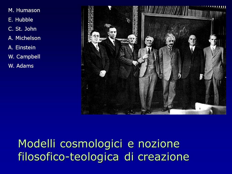 Modelli cosmologici e nozione filosofico-teologica di creazione M. Humason E. Hubble C. St. John A. Michelson A. Einstein W. Campbell W. Adams