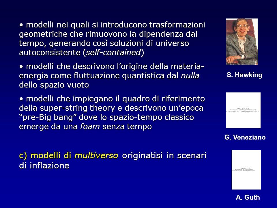 modelli nei quali si introducono trasformazioni geometriche che rimuovono la dipendenza dal tempo, generando così soluzioni di universo autoconsistent