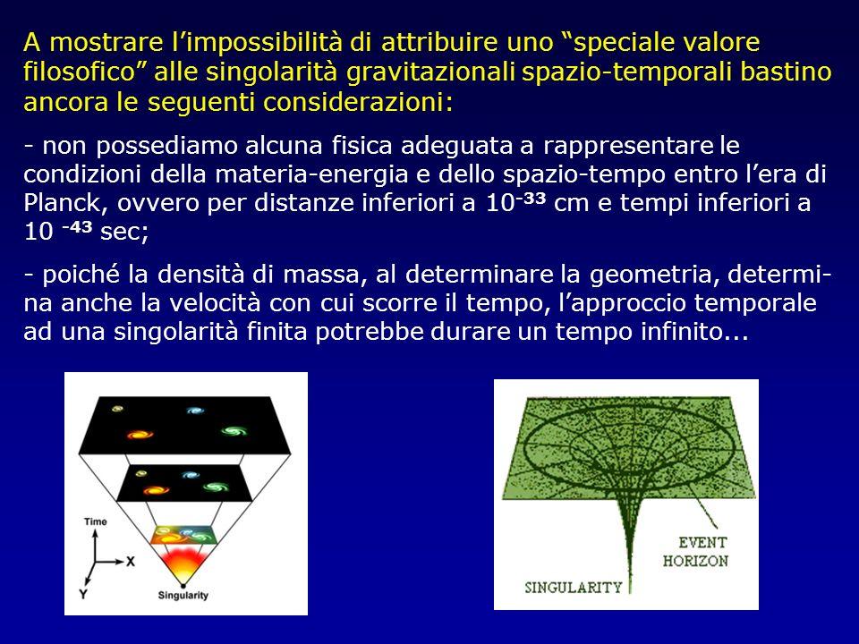A mostrare limpossibilità di attribuire uno speciale valore filosofico alle singolarità gravitazionali spazio-temporali bastino ancora le seguenti con