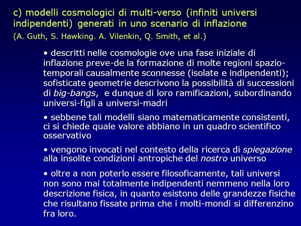 c) modelli cosmologici di multi-verso (infiniti universi indipendenti) generati in uno scenario di inflazione (A. Guth, S. Hawking. A. Vilenkin, Q. Sm