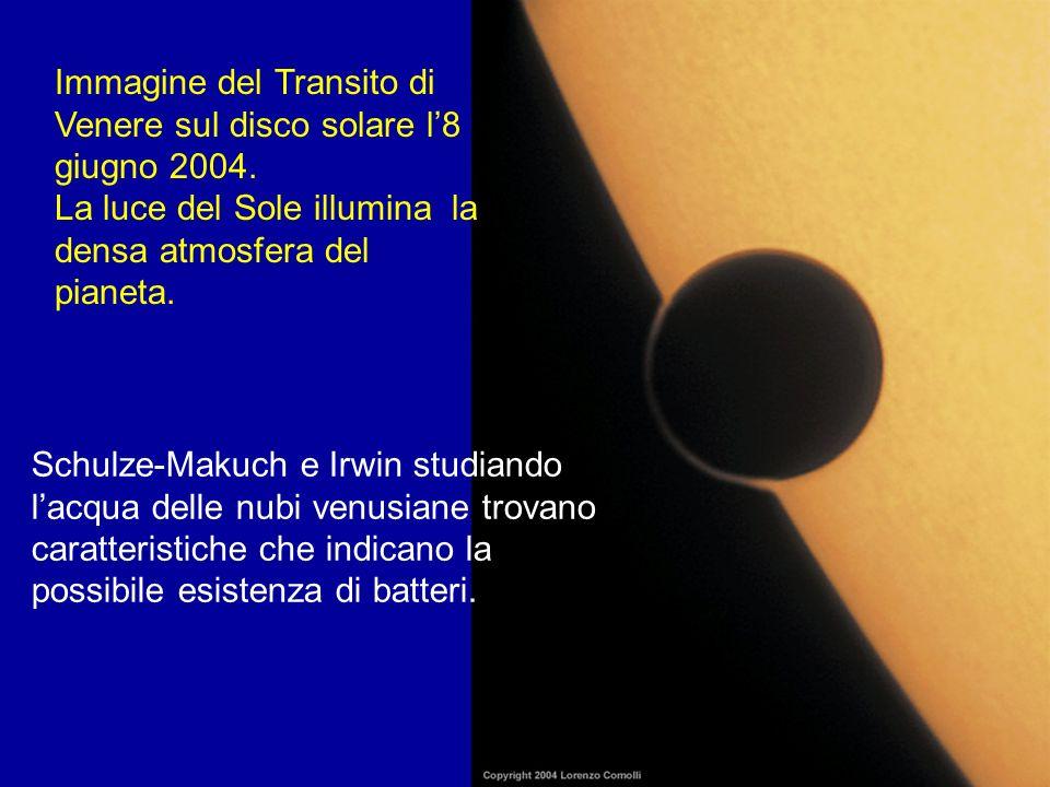 Immagine del Transito di Venere sul disco solare l8 giugno 2004. La luce del Sole illumina la densa atmosfera del pianeta. Schulze-Makuch e Irwin stud