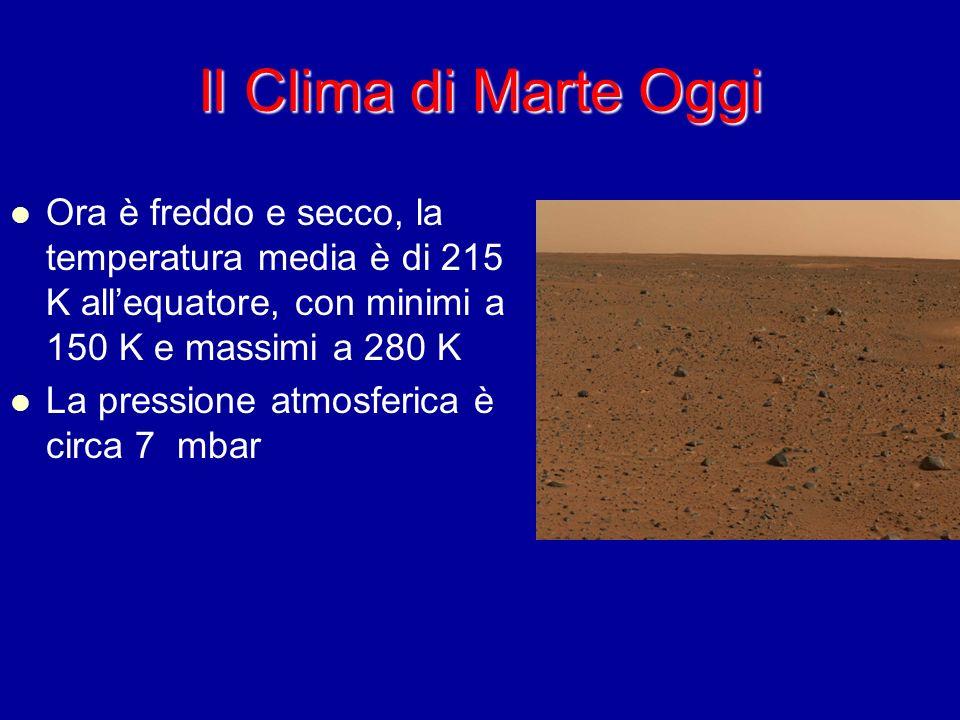 Il Clima di Marte Oggi Ora è freddo e secco, la temperatura media è di 215 K allequatore, con minimi a 150 K e massimi a 280 K La pressione atmosferic