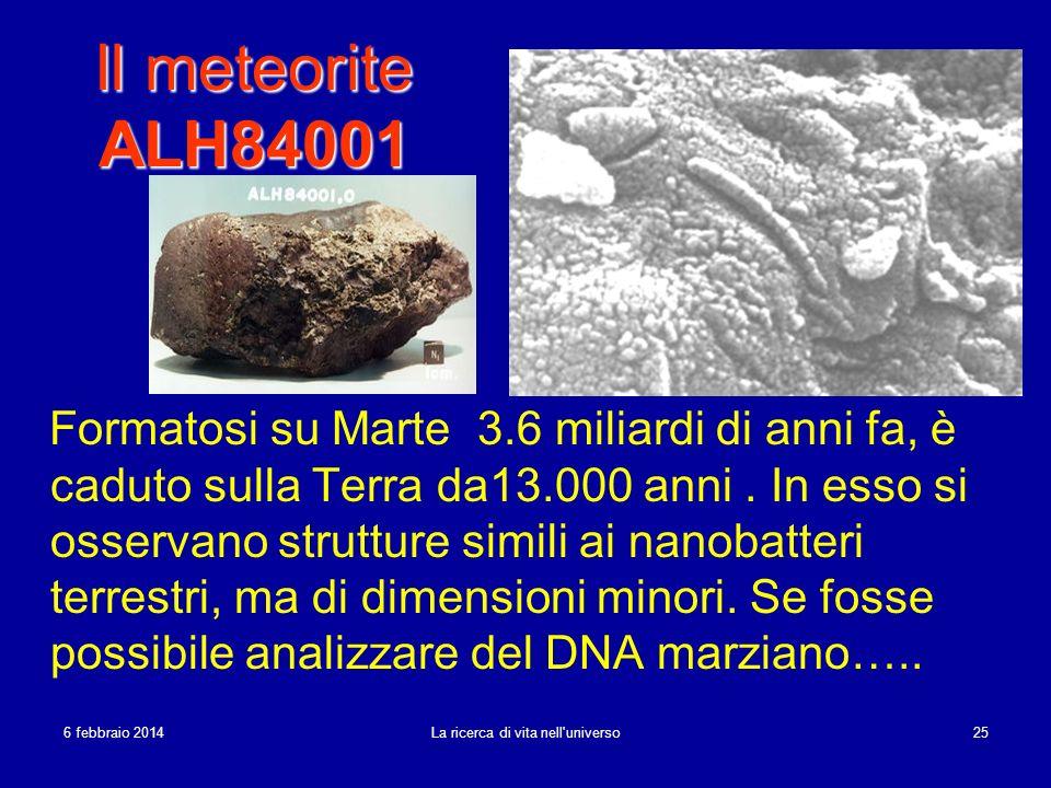 6 febbraio 20146 febbraio 20146 febbraio 2014 La ricerca di vita nell'universo 25 Il meteorite ALH84001 Formatosi su Marte 3.6 miliardi di anni fa, è