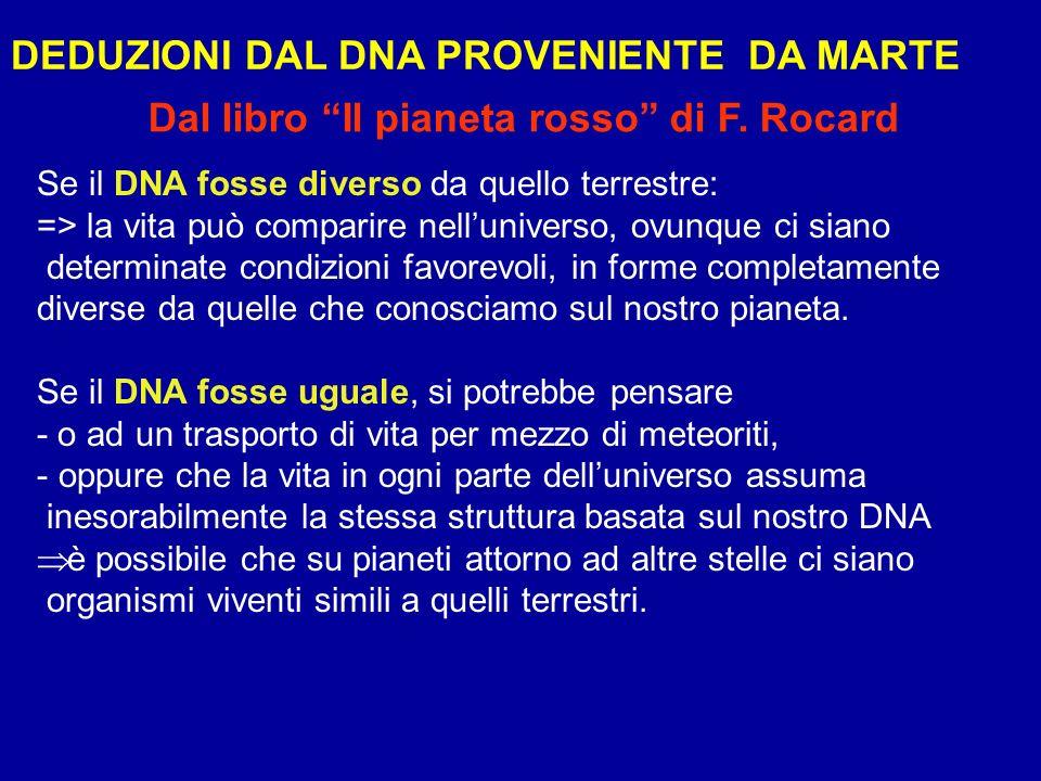 Se il DNA fosse diverso da quello terrestre: => la vita può comparire nelluniverso, ovunque ci siano determinate condizioni favorevoli, in forme compl