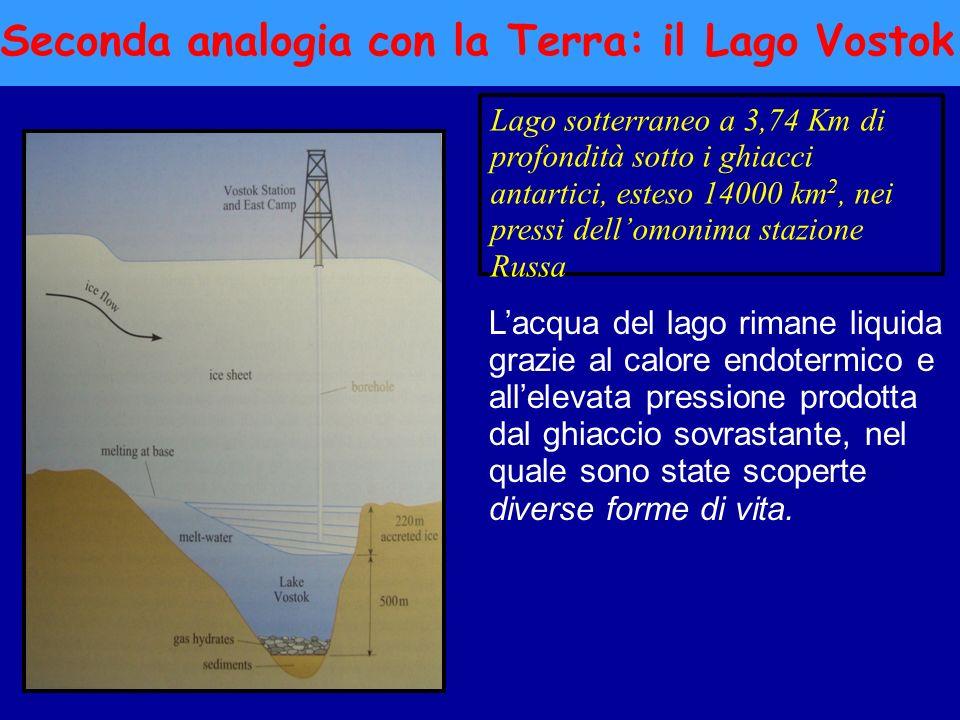 Seconda analogia con la Terra: il Lago Vostok Lago sotterraneo a 3,74 Km di profondità sotto i ghiacci antartici, esteso 14000 km 2, nei pressi dellom