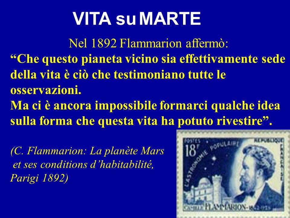 Nel 1892 Flammarion affermò: Che questo pianeta vicino sia effettivamente sede della vita è ciò che testimoniano tutte le osservazioni. Ma ci è ancora