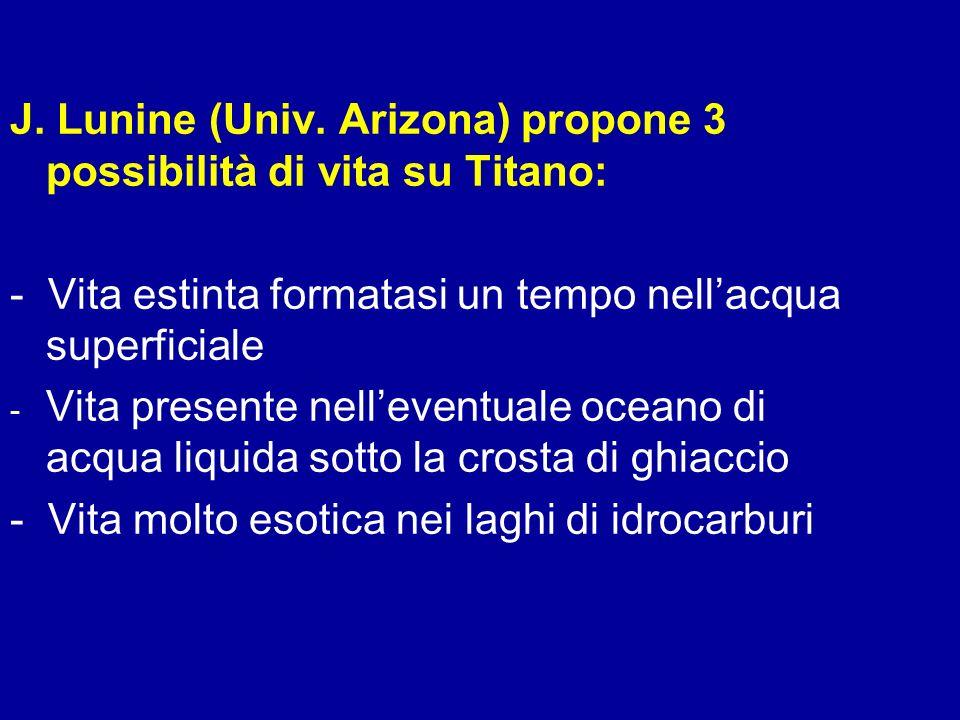 J. Lunine (Univ. Arizona) propone 3 possibilità di vita su Titano: - Vita estinta formatasi un tempo nellacqua superficiale - - Vita presente nelleven