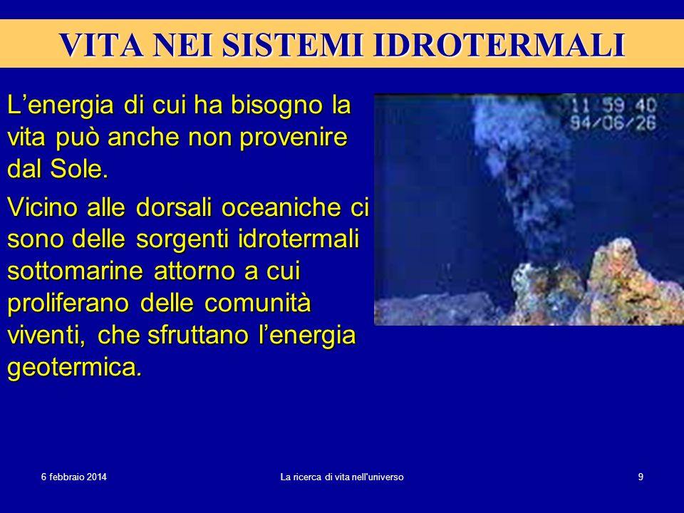 6 febbraio 20146 febbraio 20146 febbraio 2014 La ricerca di vita nell'universo 9 VITA NEI SISTEMI IDROTERMALI Lenergia di cui ha bisogno la vita può a