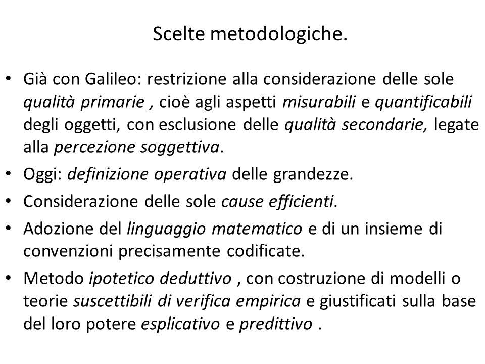 Scelte metodologiche. Già con Galileo: restrizione alla considerazione delle sole qualità primarie, cioè agli aspetti misurabili e quantificabili degl