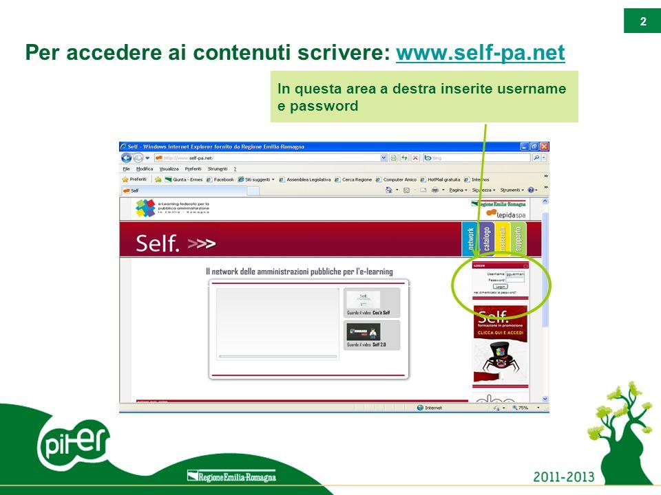 2 Per accedere ai contenuti scrivere: www.self-pa.netwww.self-pa.net In questa area a destra inserite username e password