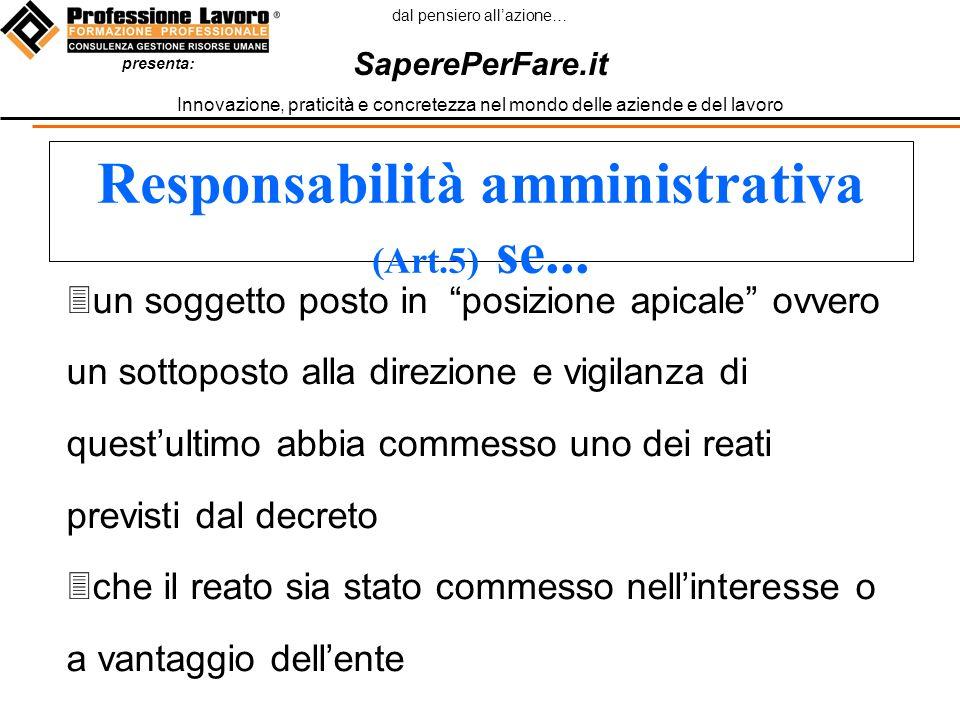 dal pensiero allazione… SaperePerFare.it Innovazione, praticità e concretezza nel mondo delle aziende e del lavoro presenta: Responsabilità amministrativa (Art.5) se...
