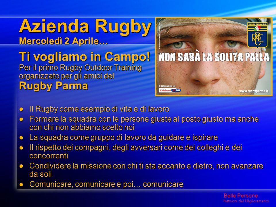 Azienda Rugby Mercoledì 2 Aprile… Ti vogliamo in Campo.