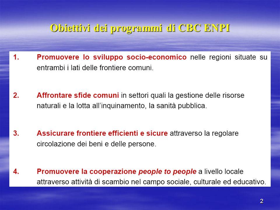 2 Obiettivi dei programmi di CBC ENPI