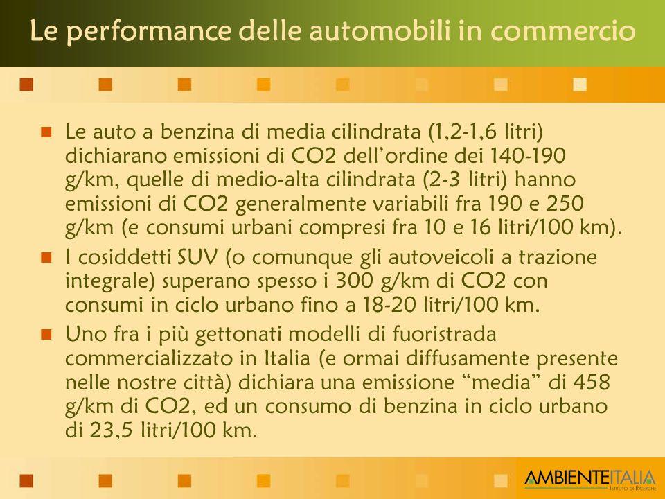 Le auto a benzina di media cilindrata (1,2-1,6 litri) dichiarano emissioni di CO2 dellordine dei 140-190 g/km, quelle di medio-alta cilindrata (2-3 litri) hanno emissioni di CO2 generalmente variabili fra 190 e 250 g/km (e consumi urbani compresi fra 10 e 16 litri/100 km).