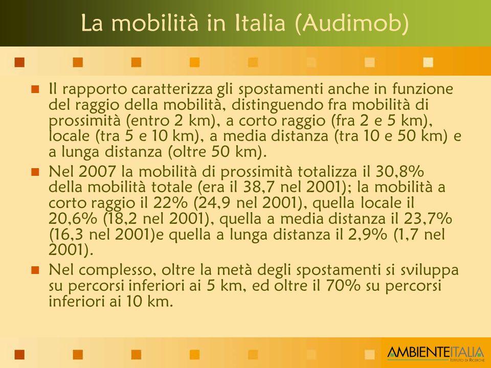 Il rapporto caratterizza gli spostamenti anche in funzione del raggio della mobilità, distinguendo fra mobilità di prossimità (entro 2 km), a corto raggio (fra 2 e 5 km), locale (tra 5 e 10 km), a media distanza (tra 10 e 50 km) e a lunga distanza (oltre 50 km).