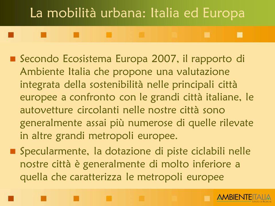 La mobilità urbana: Italia ed Europa Secondo Ecosistema Europa 2007, il rapporto di Ambiente Italia che propone una valutazione integrata della sostenibilità nelle principali città europee a confronto con le grandi città italiane, le autovetture circolanti nelle nostre città sono generalmente assai più numerose di quelle rilevate in altre grandi metropoli europee.
