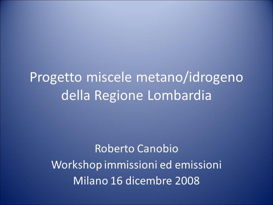 Progetto miscele metano/idrogeno della Regione Lombardia Roberto Canobio Workshop immissioni ed emissioni Milano 16 dicembre 2008