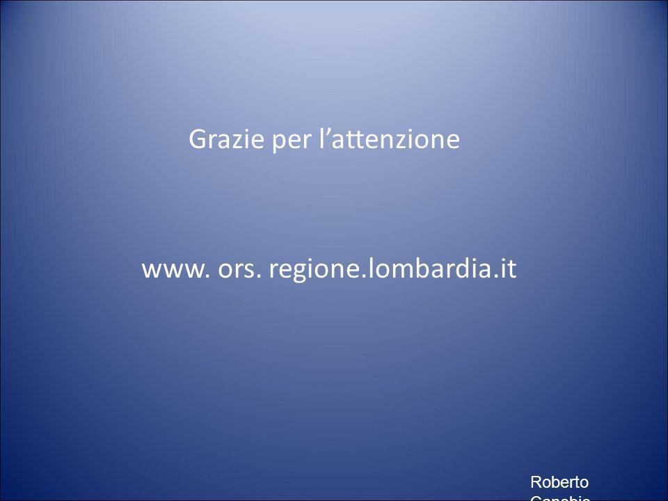 Grazie per lattenzione www. ors. regione.lombardia.it Roberto Canobio
